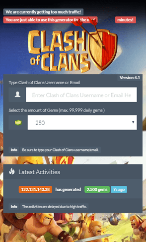 mobile clash of clans generator landing for ogads