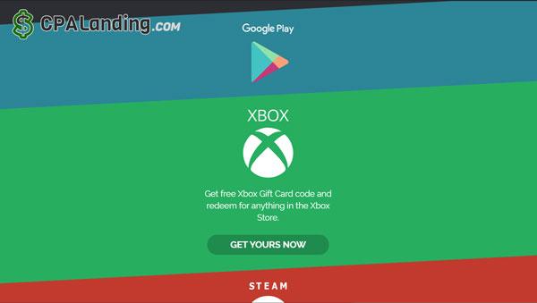 gift card code landing page generator